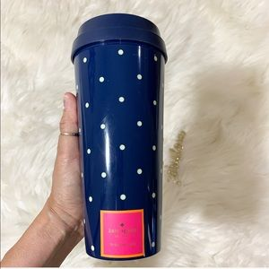Kate Spade blue polka dots coffee travel tumbler
